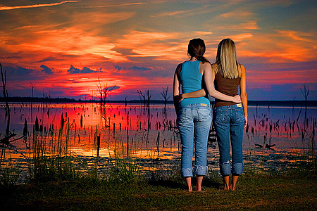 sisters-at-sunset