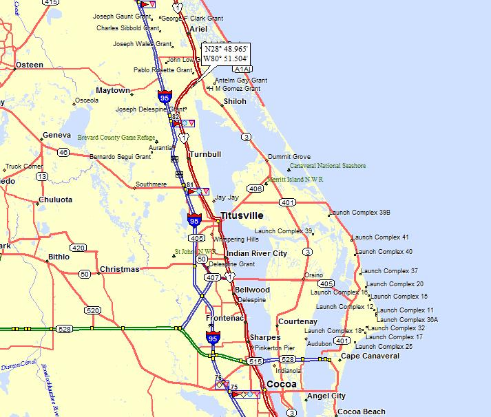 Location Of Port Canaveral Florida: Cape Canaveral Map