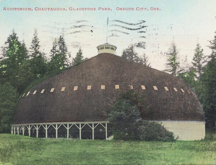 Chatauqua Building at Gladstone Park, Oregon City, postcard, abo