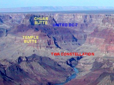 Temple Butte and Chuar Butte, the final resting places for the TWA Constellation and the United DC-7, can be seen in the far distance from the Watchtower at Desert View, the easternmost viewpoint on the South Rim.