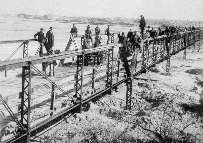 Figure 27.  A new bridge, particularly a major one, became a reason for celebration.  This structure was the first to span the South Canadian River at Taloga, Dewey County. Undated. (Western History Collections, University of Oklahoma Library)