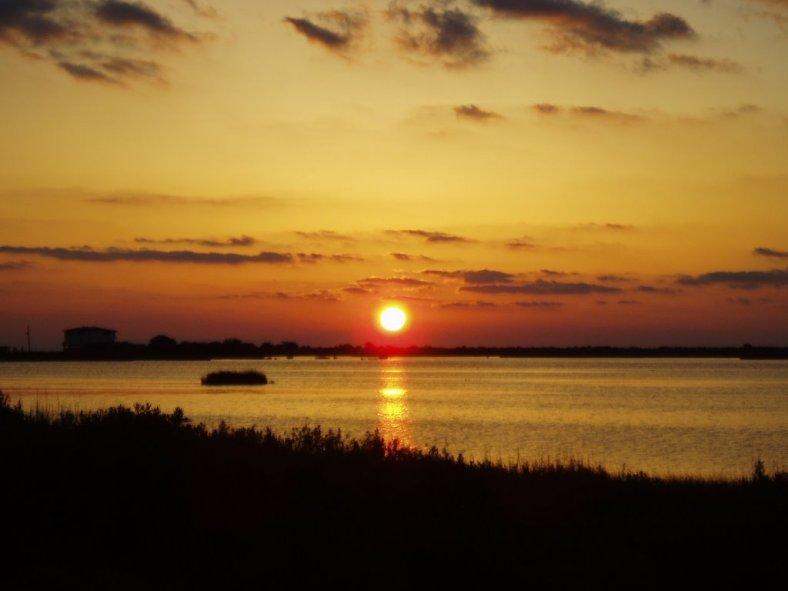 pano DurianMac sunset over Cameron Bayou