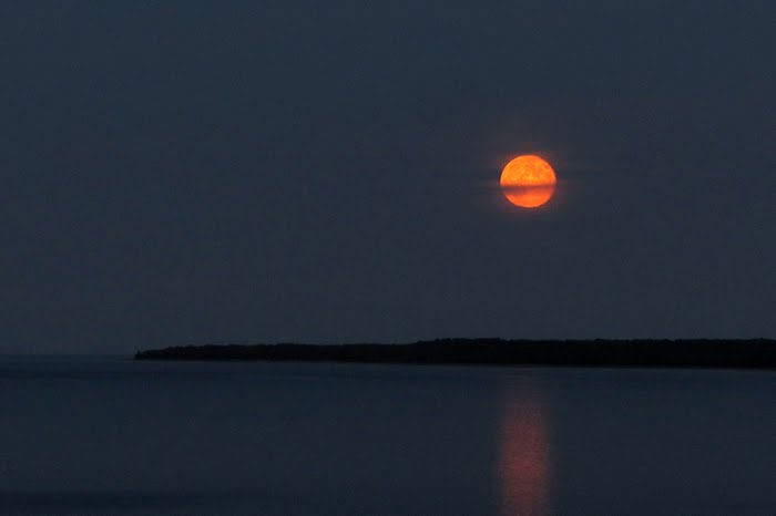 pano nailhed manoominike-giizis moonrise over cockburn island