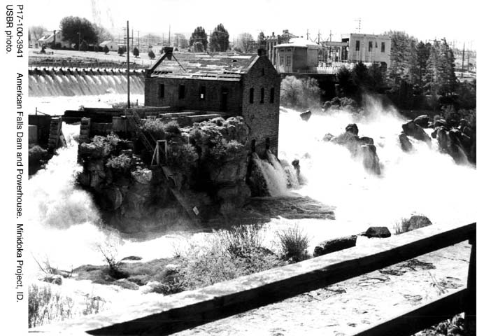 P17-100-3941 American Falls Dam and Powerhouse. Minidoka Project, ID. USBR photo.
