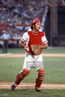 ATLANTA, GA - JULY 25: Jonny Bench #5 of the Cincinnati Reds and National League All-Stars in action against the American League All-Stars during Major League Baseball All-Star game July 25, 1972 at Atlanta Stadium in Atlanta, Georgia. The National League won the game 4-3. (Photo by Focus on Sport/Getty Images) *** Local Caption *** Jonny Bench